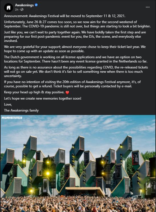 Awakenings Festival Postponement Statement