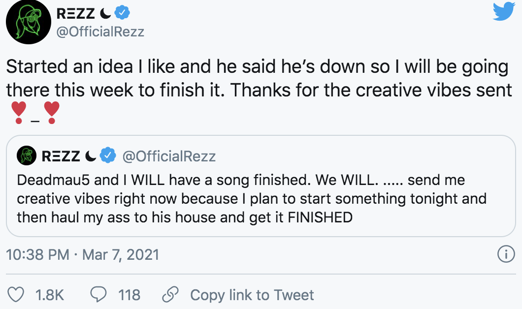 Rezz confirms the collab in this tweet and thanks fans for sending creative vibes.