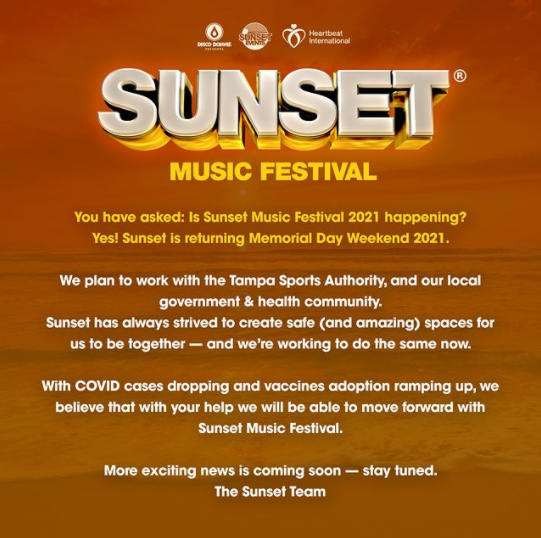 Sunset Music Festival 2021 update.