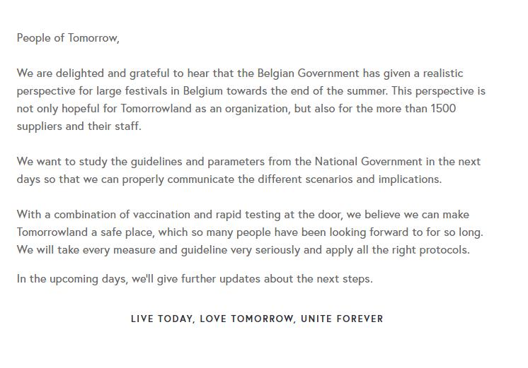 Belgian government Tomorrowland