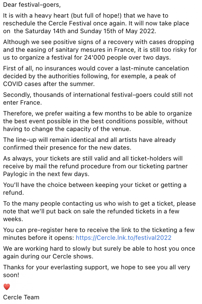 Cercle's official statement regarding the postponement of their festival.