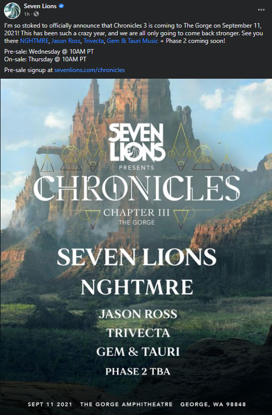 Seven Lions Chronicles III announcement.